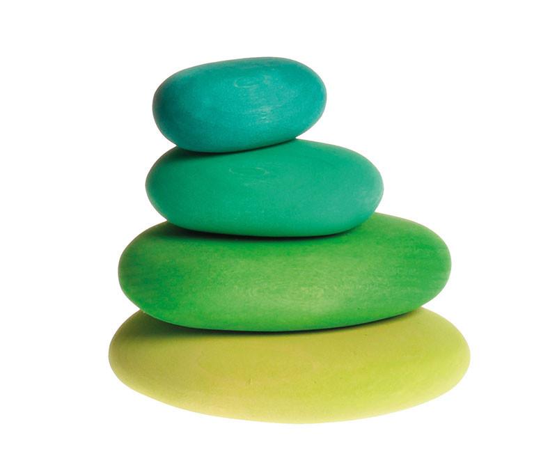 Grimms træklodser formet som grønne småsten