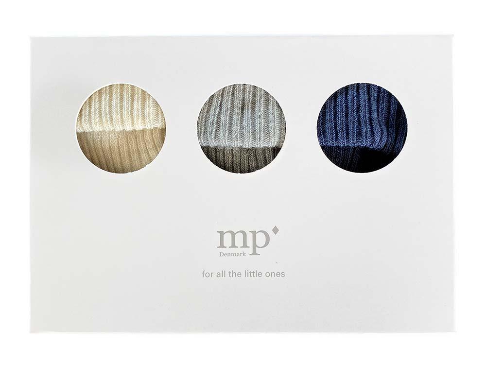 MP 3-paks baby bomuldsstrømpe sæt i gaveæske multifarvet navy/grå/råhvid