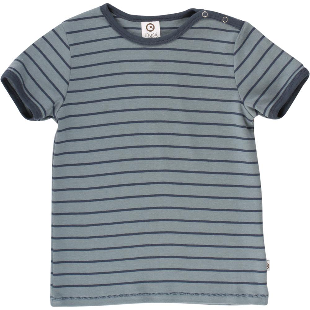 Mûsli Stripe grøn T-shirt med navy striber