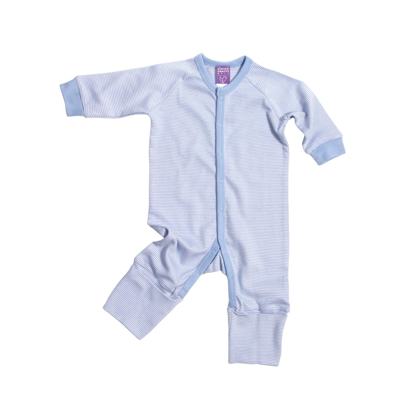 Økologisk baby natdragt i lys blå hvid stribet fra Living craft