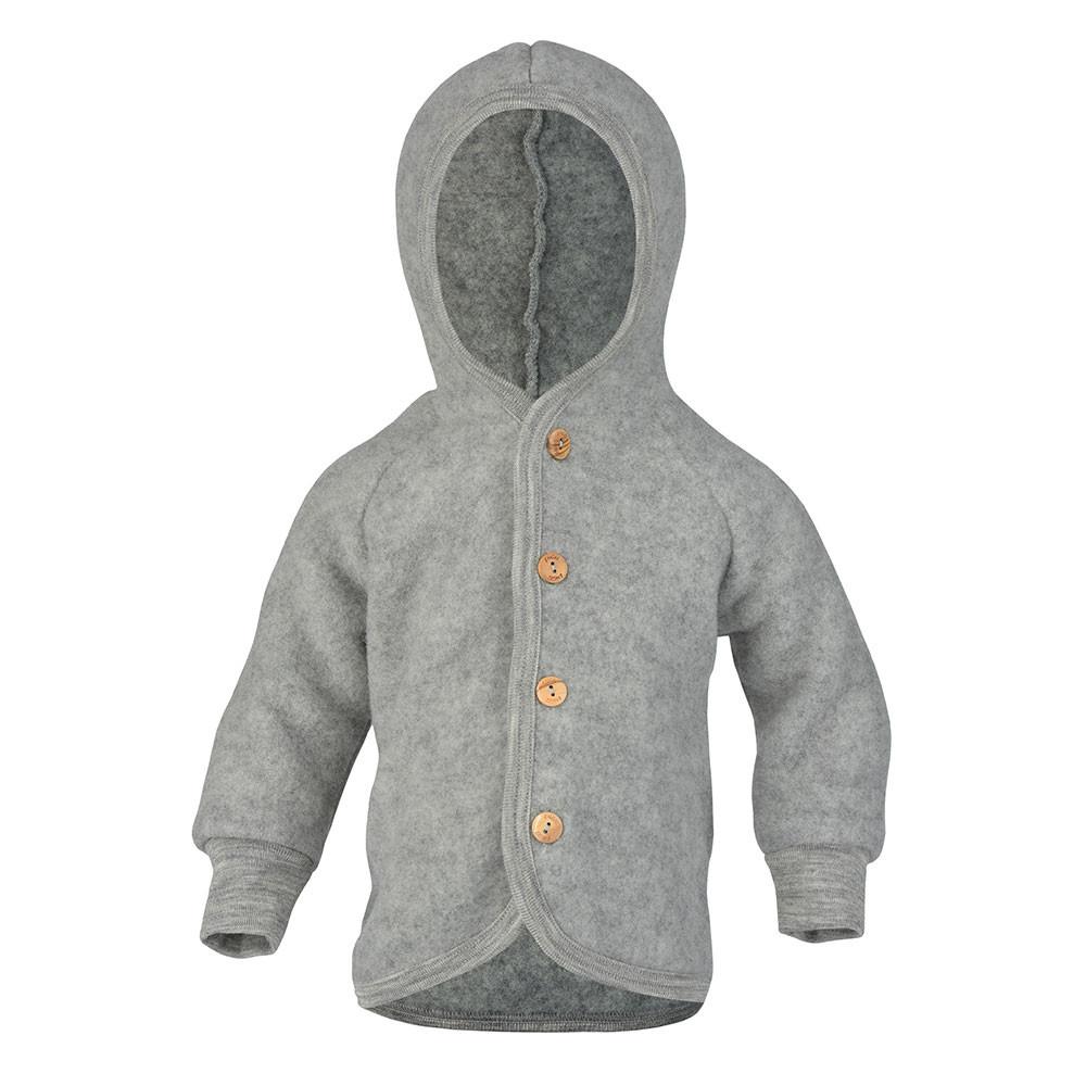 Engel jakke i uldfleece m/hætte - grå