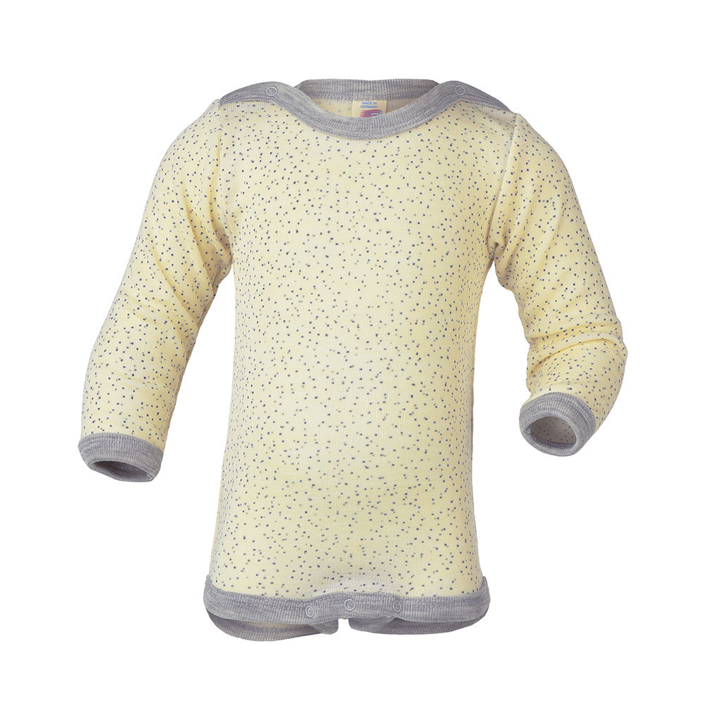 Engel body m/lange ærmer, uld/silke - Råhvid med grå prikker