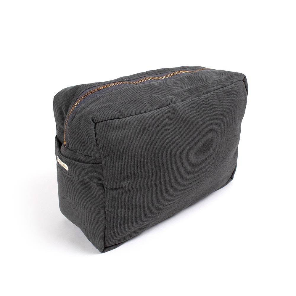 Filibabba stor fløjls toilettaske - stone grey
