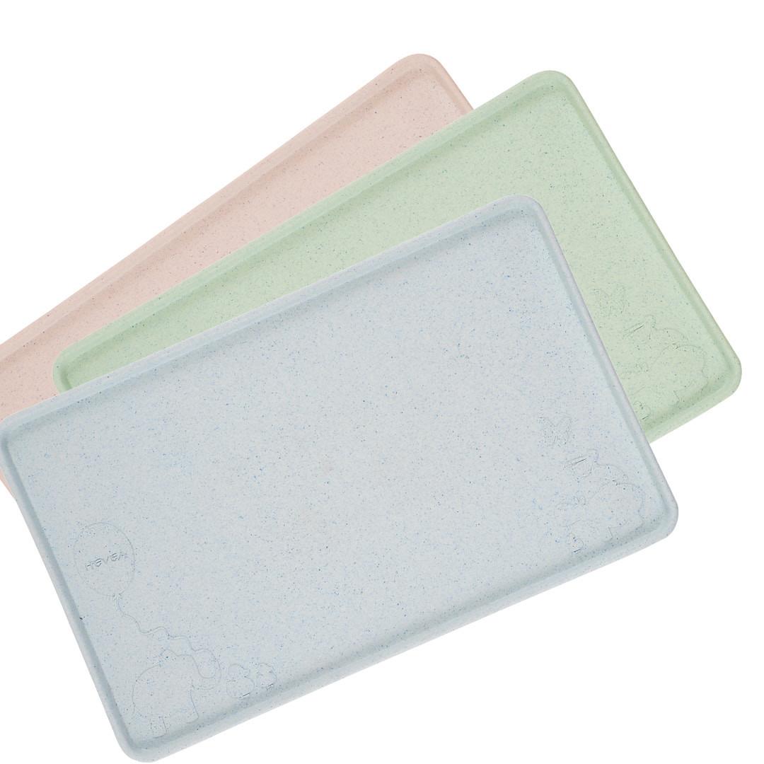 Hevea dækkeserviet/spisemåtte - blå, rosa og mintgrøn