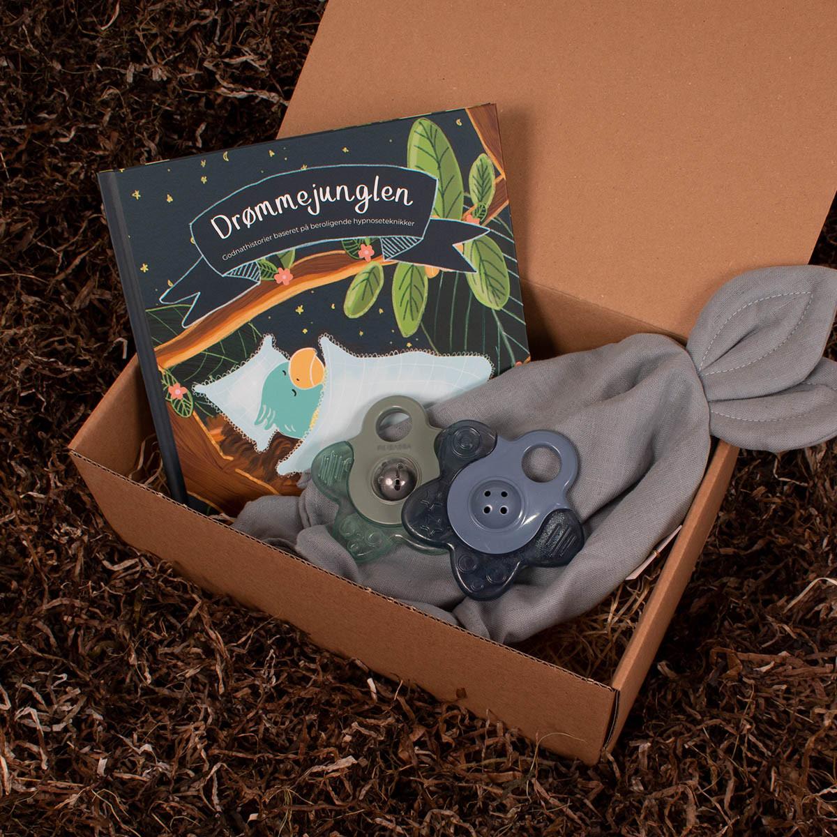 Drømmejunglen godnathistorier, nusseklud og 2 køle bideringe fra Filibabba - Barsel- og dåbsgave   Eksklusiv gavesæt til baby og gravid mor