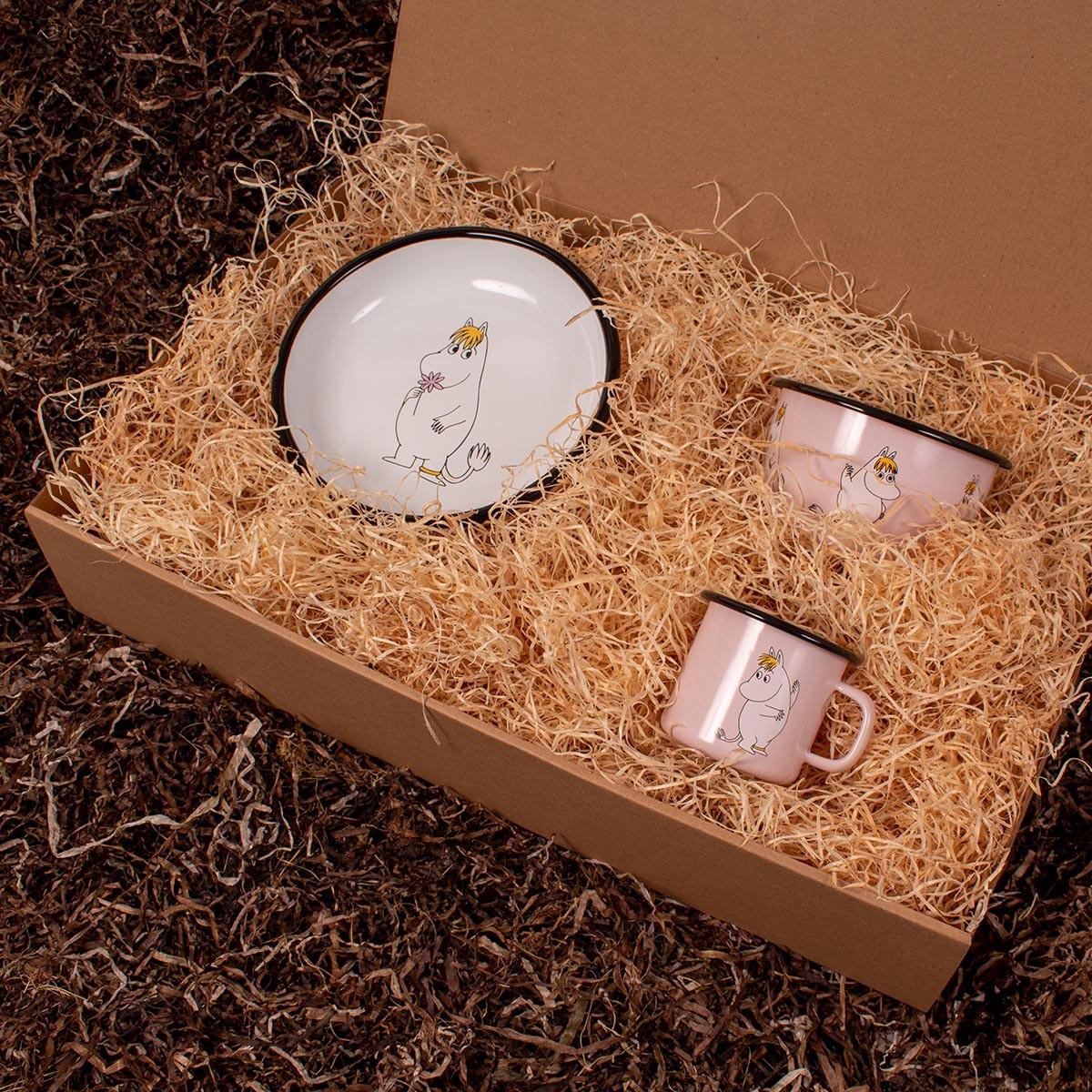 Barsel- og dåbsgave - Gavesæt spisetid   Mumi Retro emalje krus, skål og tallerken (Mumi) - lyserød