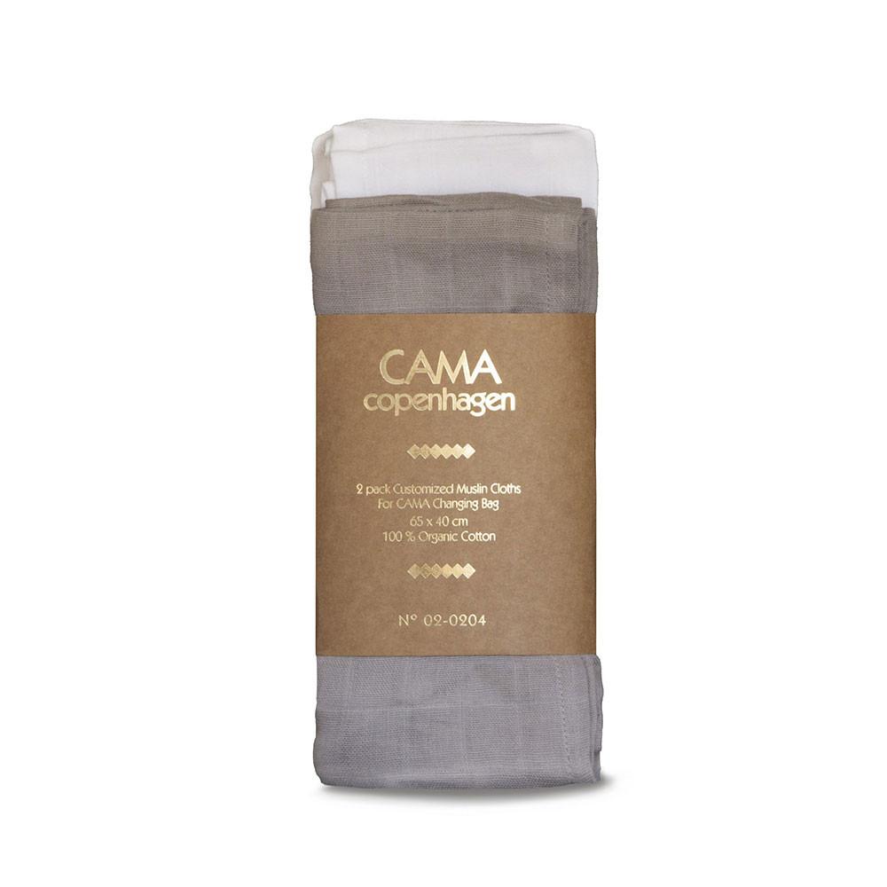 CAMA Copenhagen 2-pak stofbleer grå/hvid til pusletasken