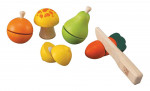 Legesæt med frugter og grøntsager - trælegetøj