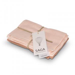 4-pak eksklusive muslin baby vaskeklude pale pink/dusty coral | Saga Copenhagen