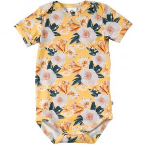 Müsli Bloom kortærmet gul body med print af blomster