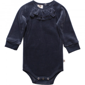Müsli Body m. lang ærme - Velour - Midnight