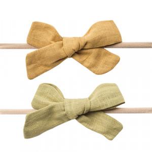 Freja - hårbånd m. hørsløjfe dijon/moss (2 pak)