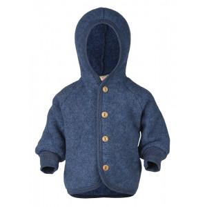 Engel jakke i uldfleece m/hætte - Blå