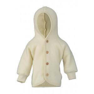 Engel jakke i uldfleece m/hætte - Natur