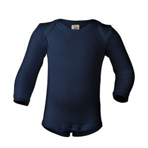 Engel body m/lange ærmer, uld/silke - Navy