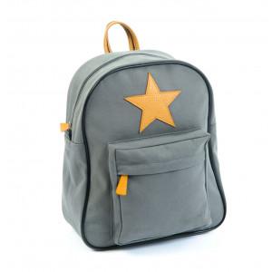 Stor Smallstuff mørkegrå rygsæk med læder stjerne