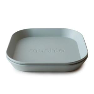 Mushie 2-pak firkantet tallerken Sage