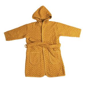 Baby badekåbe zigzag i økologisk bomuld golden mustard 1-2 år
