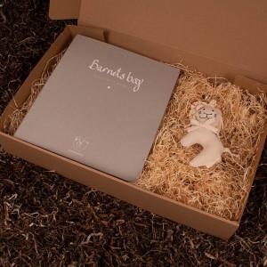 Barnets bog og økologisk løve rangle - Barsel- og dåbsgave | Eksklusiv gavesæt til baby og gravid mor