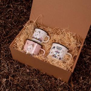 Barsel- og dåbsgave - Gavesæt spisetid | Mumi Hug og Date Night emalje krus