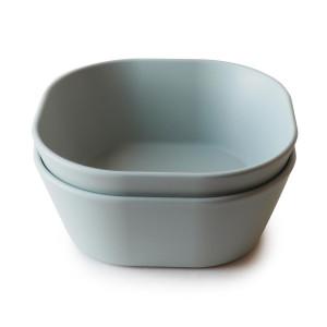 Mushie 2-pak firkantet skål Sage