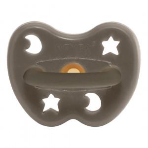 Hevea shiitake grey sut 0-3 mdr. rund af naturgummi med stjerne og måne motiv