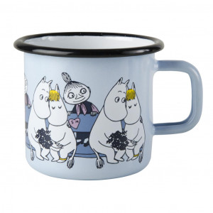 Mumi Friends emalje krus 3,7dl, blue (Mumi & Snorkmaiden & Mymble)