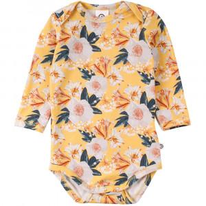 Müsli Bloom langærmet gul body med print af blomster
