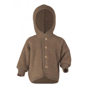 Engel jakke i uldfleece m/hætte - valnød