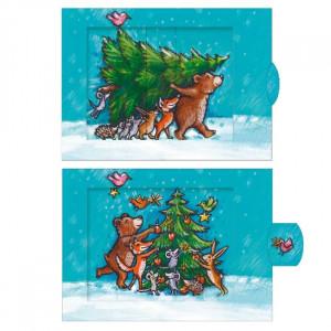 Skovens dyr pynter juletræ - postkort