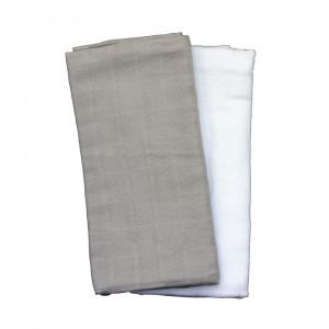 CAMA Copenhagen 2-pak muslin stofbleer grå/hvid til pusletasken