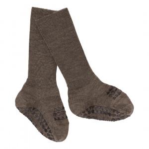 GoBabyGo - Skridsikre uld baby strømper - Brown Melange