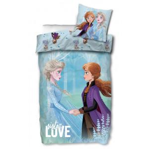 Lyseblåt Frost junior sengetøj med Anna og Elsa, 100x140 cm