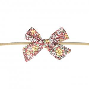 Gry hårbånd med sløjfe - Pink & gul blomster mix