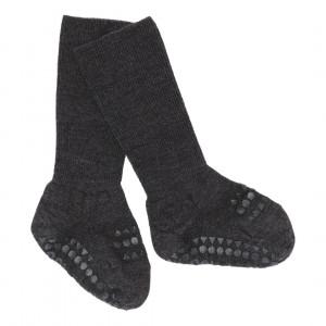 GoBabyGo Skridsikre uld baby strømper - Dark Grey Melange