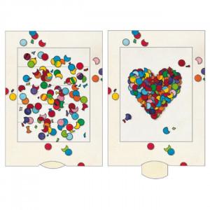 Konfetti hjerte - postkort