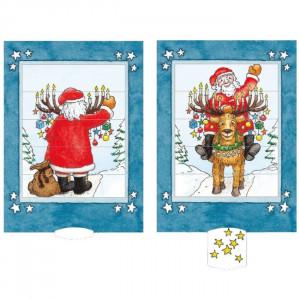 Julemanden og Rudolf - postkort