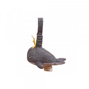 Filibabba blød lille hval bamse i grå melange