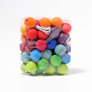 Grimms træperler - Rainbow, 60 stk.